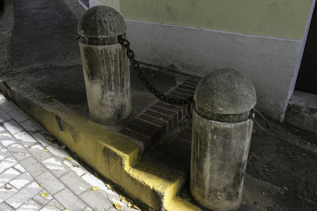 Bollards with Yellow Curb